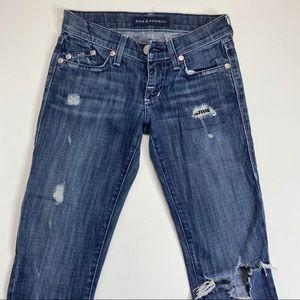 Distressed Crystal Embellished Skinny Jeans